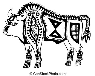 black and white original ethnic tribal bison drawing,...