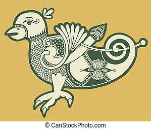 authentic decorative celtic bird, ethnic vector illustration