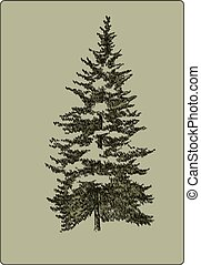 Vintage Christmas tree, hand-drawing. Vector illustration.