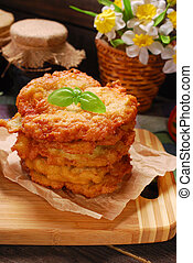 pile of freshly fried potato cake - pile of homemade freshly...