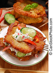 potato cakes with vegetable and mayonnaise sauce - homemade...