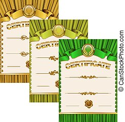 Elegant template of certificate, diploma - Set of elegant...