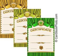 elegante, plantilla, de, certificado, Diploma,