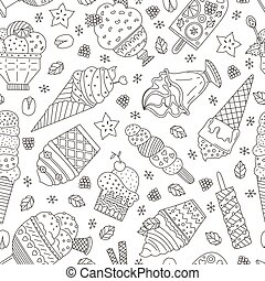 Ice Cream Pattern - Cute hand drawn seamless pattern with...