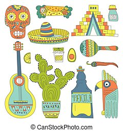 Mexican Elements - Hand drawn set of mexican symbols -...