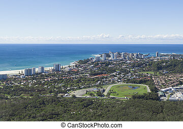 Aerial view of Coolangatta and Kirra Beach on the Gold...