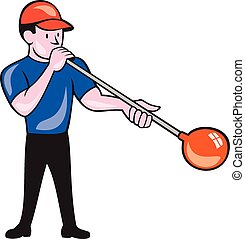 Glassblower Glassblowing Isolated Cartoon - Illustration of...