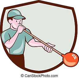 Glassblower Glassblowing Cartoon Shield - Illustration of a...