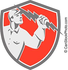 Electrician Holding Lightning Bolt Shield Retro