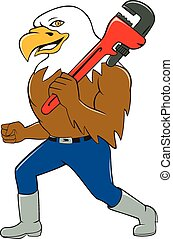 American Bald Eagle Plumber Monkey Wrench Cartoon