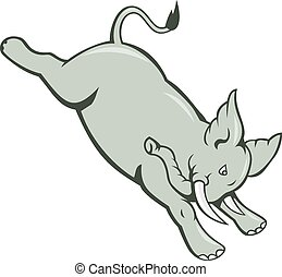 Elephant Jumping Bucking Isolated Cartoon