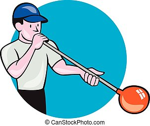 Glassblower Glassblowing Cartoon Circle - Illustration of a...