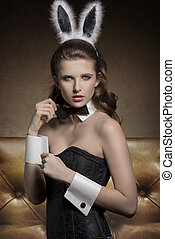 pin-up girl with funny bunny ears