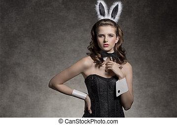charming easter playgirl - very brunette girl wearing like...
