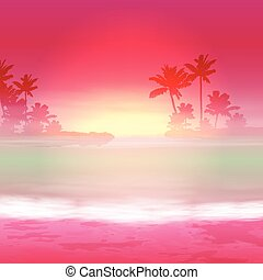 Background with sea and palm trees Sunset time EPS10 vector...