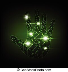 abstract digital hand technology