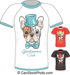 T-shirt with French Bulldog dog gentleman - Vector Men...