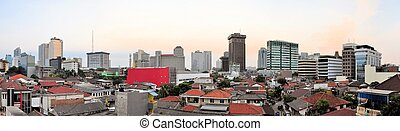 Panoramic cityscape of Indonesia capital city Jakarta viewed...