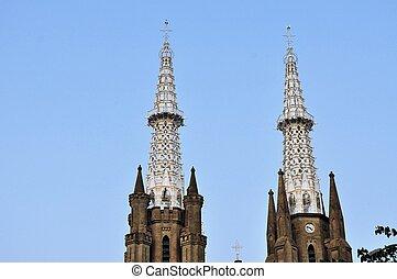 Neo-gothic Roman Catholic Cathedral, Jakarta, Indonesia -...