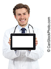 Happy doctor man showing a blank tablet screen software on a...