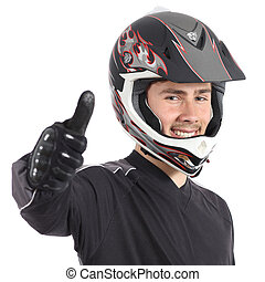 Happy motor biker man gesturing thumbs up isolated on a...