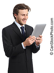 Happy young business man reading a tablet reader isolated on...