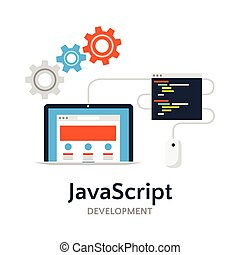 JavaScript flat vector illustration - Abstract flat vector...