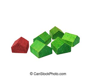 Green Red Houses - Green group homes One Red home isolated...