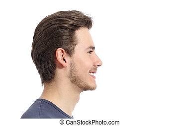 Side view of a handsome man facial portrait isolated on a...