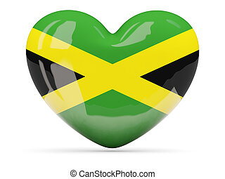 Heart shaped icon with flag of jamaica isolated on white