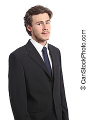Young serious business man portrait isolated on a white...