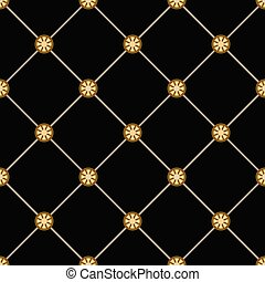 black cells - Abstract gold geometric seamless pattern....