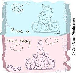 Esboço, bom, ter, bicicleta, Dia