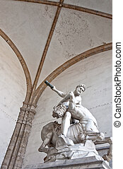 Hercules beating the centaur Nessus statue in Florence,...