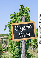 Blackboard in the vineyards - Organic Wine