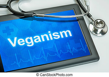 Tablet with the word Veganism on the display