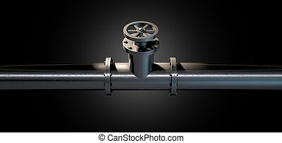 Metal Shutoff Valve - A metal shutoff valve attached to a...