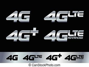 4G - Vector illustration of different 4G technology logos