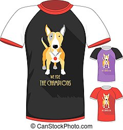 Vector T-shirt with Bull Terrier dog champion - Vector Men...
