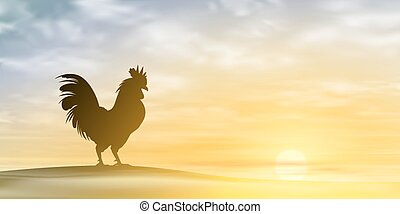 Cockerel, Rooster. - A Misty Morning Landscape with...