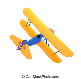 Yellow and blue biplane on white - Yellow and blue biplane...
