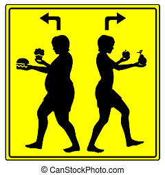 Different Eating Habits Concept sign of either eating health...