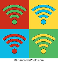 Pop art Wi Fi simbol icons Vector illustration