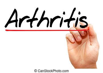 mão, escrita, artrite, concept, ,
