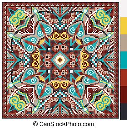 geometric square pattern for cross stitch ukrainian...