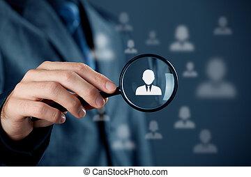 individuo, cliente, servicio, y, CRM,