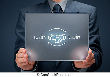 Win win strategy - Win-win partnership strategy concept....