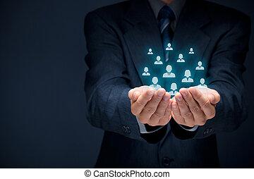 顧客, 或者, 雇員, 關心, 概念,