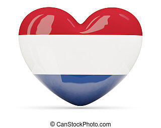 Heart shaped icon with flag of netherlands