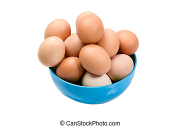 Photo of bowl with many brown hen eggs isolated over white